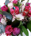 Hand tied aqua packed bouquet workshop