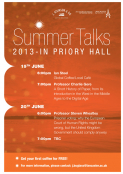 Summer talks in Priory Hall