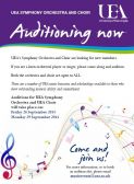 UEA Symphony Orchestra and Choir auditions