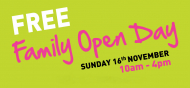 Everyone is invited to the FREE Family Open Day at Sportspark, UEA on Sunday 16th November!