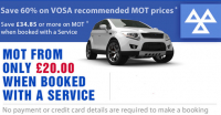 Save up to 60% on VOSA recommended MOT prices*