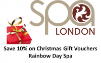 Save 10% on spa LONDON Gift Vouchers this Christmas at Rainbow Day Spa Epsom