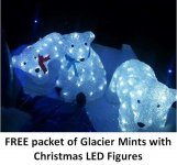 FREE packet of GLACIER MINTS with Christmas LED Figures