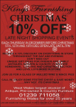 Christmas 10% Off Late Night Thursday Shopping at Kings Furnishing