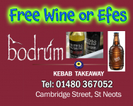 Free Wine or Efes when spending over £20 in Bodrum takeaway St Neots
