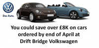 Amazing Savings on VW's ordered by end of April at Drift Bridge Volkswagen