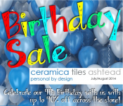 Birthday Special up to 40% OFF across the store at Ceramica Tiles Ashtead