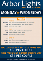 2 COURSE MEAL AND A BOTTLE OF WINE - £30 PER COUPLE!