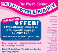 3 sessions for £75 on Physiotherapy or Massage at The Physio Centre