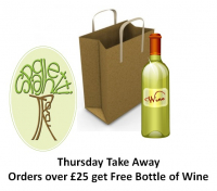 Thursday Take Away or Delivery – spend £25 or more and get FREE bottle of Wine