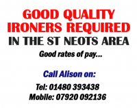 Part time ironer's required in the St Neots area..