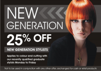 25% off Hairdressing Services