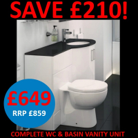 Save £210 on a sparkle vanity and wc set.