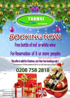 Christmas Booking offer at Thames Restaurant