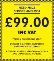 Fixed Price Service & MOT - £99.00 Inc VAT Only