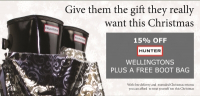 15% OFF selected Hunter Wellingtons plus FREE Boot Bag at FRS Countrywear