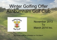 Winter Golfing Offer @ Ashburnham Golf Club SAVE upto £100