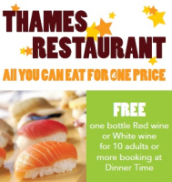 Free Wine offer at Thames Restaurant