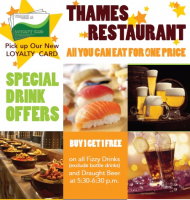 BUY 1 GET 1 FREE Drinks offer at Thames Restaurant