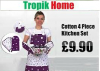 Cotton 4 Piece Kitchen Apron Sets - From £9.90 only