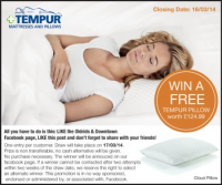 FREE Tempur Pillow worth £124.99