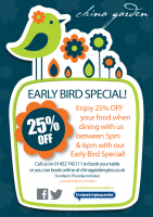 Get 25% OFF your meal with the Early Bird Special!