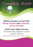 Tuesday Hoot Carvery commencing 1st April 2014