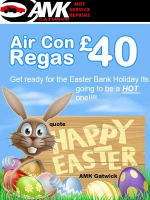 "Air Con Re-gas only £40 when you quote ""Happy Easter AMK"""