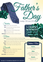 FATHERS DAY MENU– 3 Courses for price of 2 PLUS kids eat FREE!