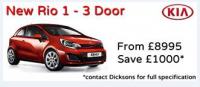 New Rio 1-3dr from £8995 saving £1000.
