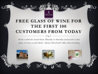 FREE glass of wine with lunch