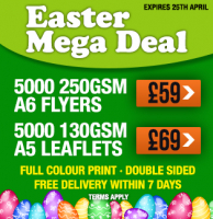 EASTER MEGA DEAL - 5,000 A6 FLYERS - £59