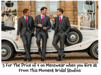 5 For The Price of 4 on All Men's Formal Wear (Hire Only) at From This Moment Bridal Studios @FTMBridal
