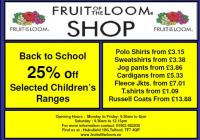 Back to School 25% off selected Childrens Clothing