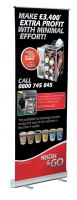 Roll-up banner £42 plus VAT inc delivery.
