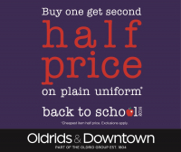 School Uniform: Buy One, get second Half Price