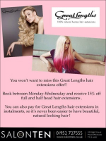 15% OFF Great Lengths Hair Extensions at Salon Ten