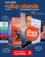 Best Quality Rollup Stands only £33+vat with Money Back Guarantee