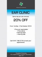 20% OFF SAME DAY EAR WAX REMOVAL WITH PRESTWICH PHARMACY