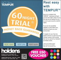 Tempur 60 Night Trial: Money back guarantee