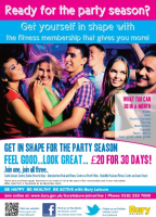 BURY LEISURE'S PARTY SEASON OFFER -  MEMBERSHIP FOR 30 DAYS JUST £20