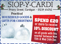 Spend £20 or more to receive 10% off at Siop-y-Cardi
