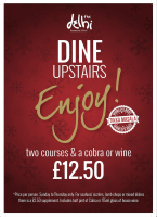 2 Courses and a Cobra or glass of wine  £12.50