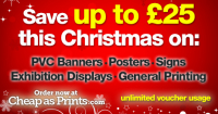 UP TO £25 OFF this Christmas on PVC Banners, Posters, Signs, Exhibition Displays and General Printing