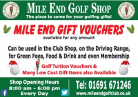 Mile End Gift Vouchers available
