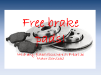 FREE Brake Pads when brake discs fitted at Priorslee Motors