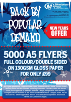 New Years Offer! 5000 A5 Flyers for just £99