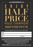 Half price champagne from Monday - Friday at Cannizaro House