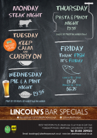 Mid-week Evening Dining Specials in Lincolns Bar, Ullesthorpe Court