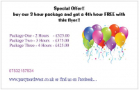Buy a 3 hour package and get a 4th hour free!